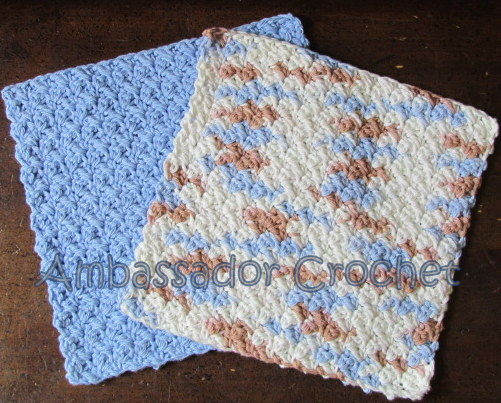 Crochet Patterns Dishcloths Free : Grit Stitch Dishcloth v.2 Free Crochet Pattern - Ambassador Crochet ...