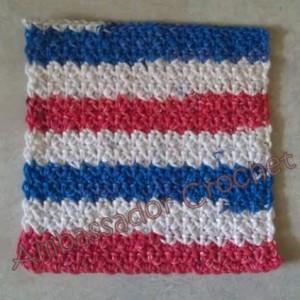 Red, White, & Blue Crochet Dishcloth