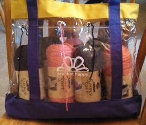 homemade yarn tote project bag