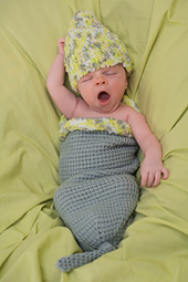 Tunisian Crochet for Baby Cocoon Hat