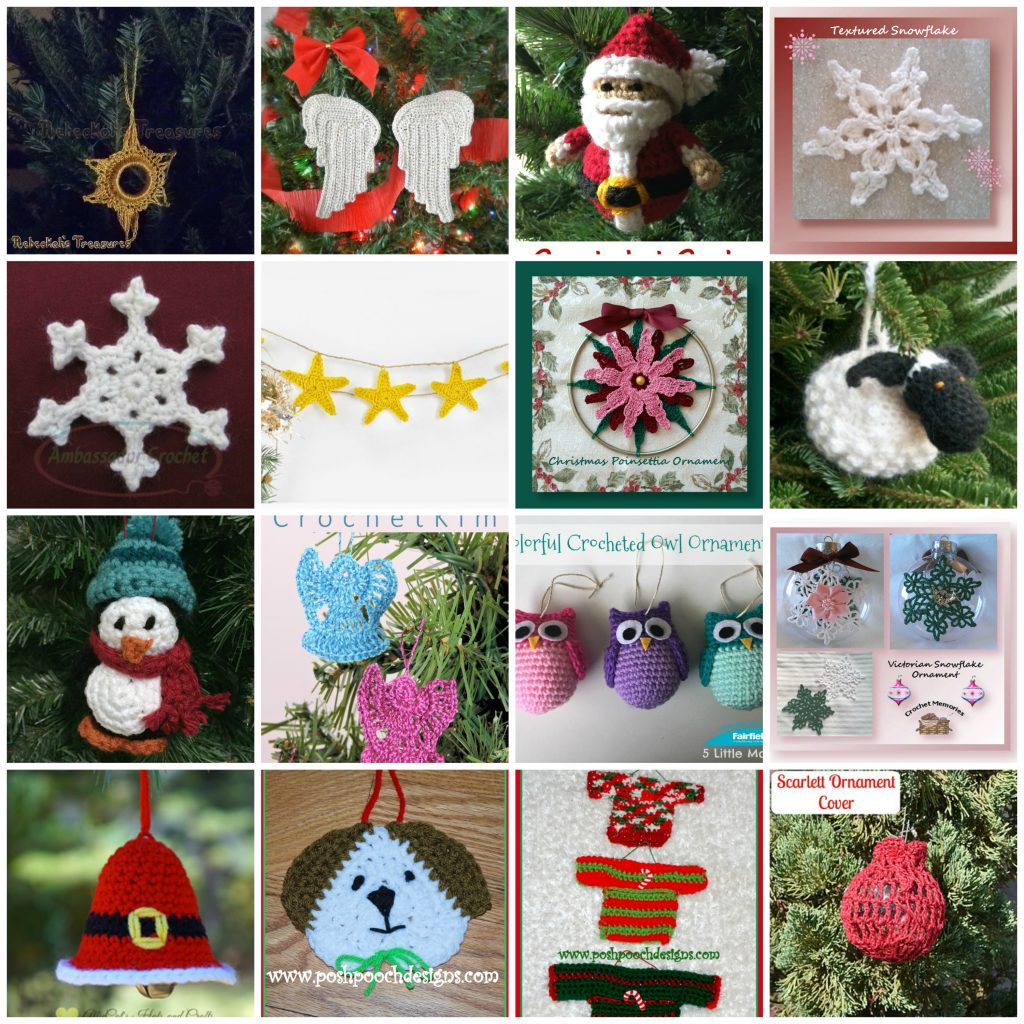 Christmas tree ornament roundup - Crochet patterns to decorate your Christmas tree.