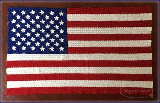 American Flag Afghan crochet pattern by Ambassador Crochet - $4.95