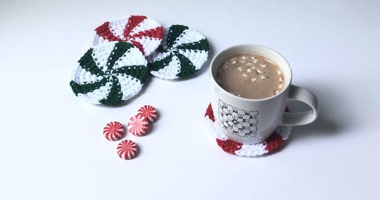 Peppermint Candy Coasters – Free Crochet Pattern