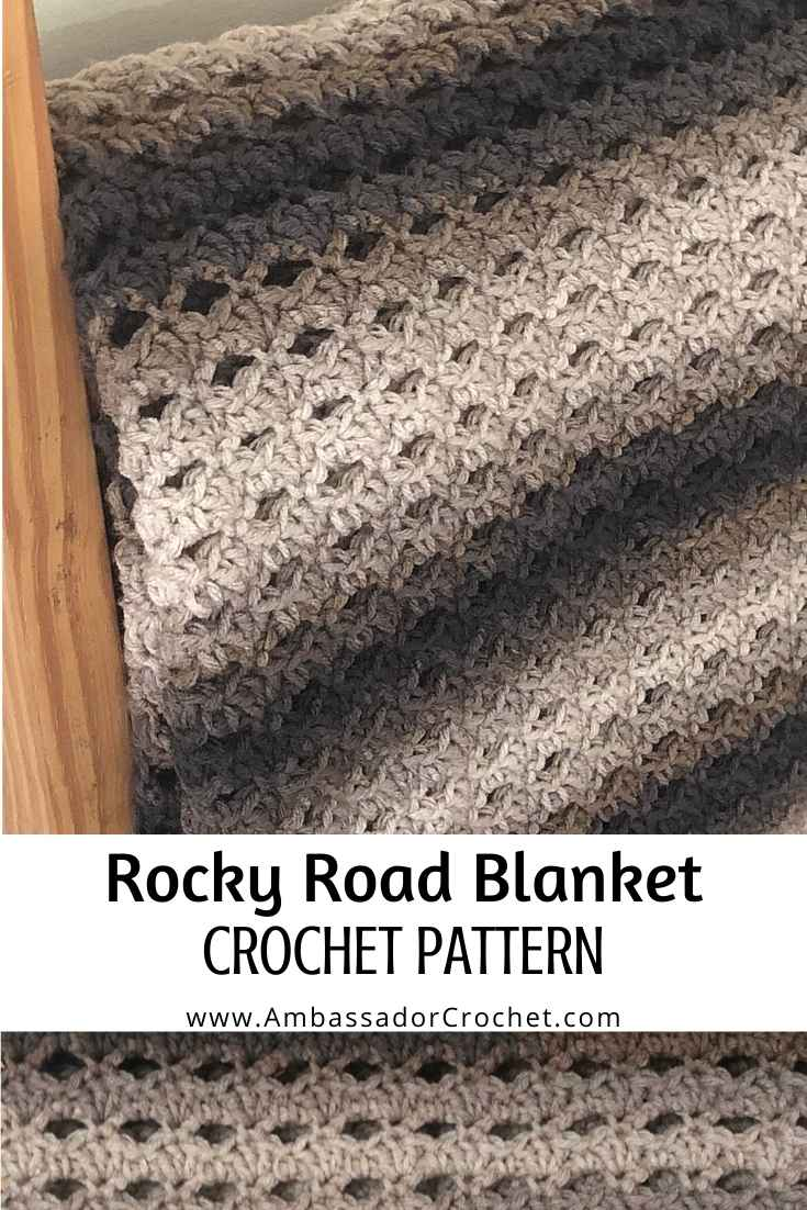 The rocky road blanket pattern uses amazing ombre yarn combined with a bit of texture to create an afghan you'll want to curl up on the couch with when completed.