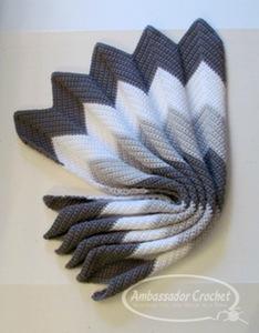 Waves of Grayce ripple baby afghan crochet pattern by Ambassador Crochet.
